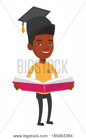 African-american graduate standing with a big open book in hands. Graduate in graduation cap reading a book. Graduate holding a book. Vector flat design illustration isolated on white background.