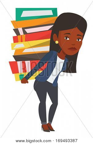 African student carrying heavy pile of books on his back. Upset student walking with huge stack of books. Student holding pile of books. Vector flat design illustration isolated on white background.