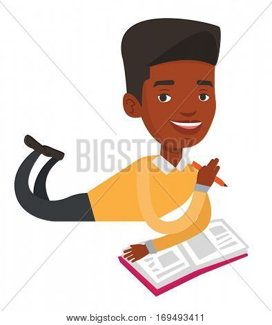 Student laying on the floor and writing in exercise book. Student laying with an exercise book. Student doing homework in exercise book. Vector flat design illustration isolated on white background.