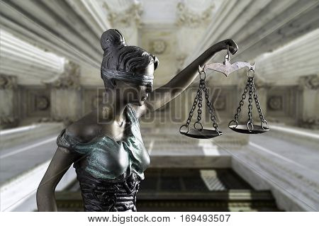 Face of Lady Justice on the Supreme Court of U.S. background