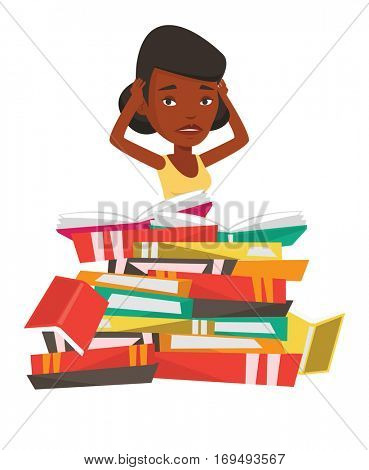 African-american student sitting in huge pile of books. Tired student read up for examinations with books. Stressed student reading books. Vector flat design illustration isolated on white background.