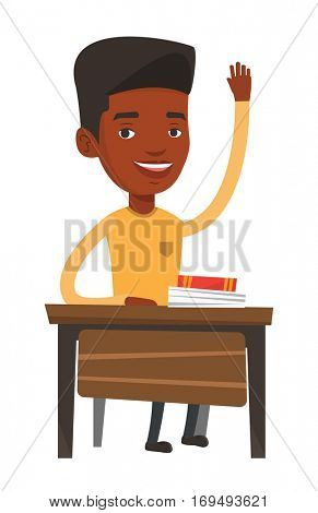 Student raising hand in the classroom for an answer. Student sitting at the desk with raised hand. Happy schoolboy raising hand at lesson. Vector flat design illustration isolated on white background.