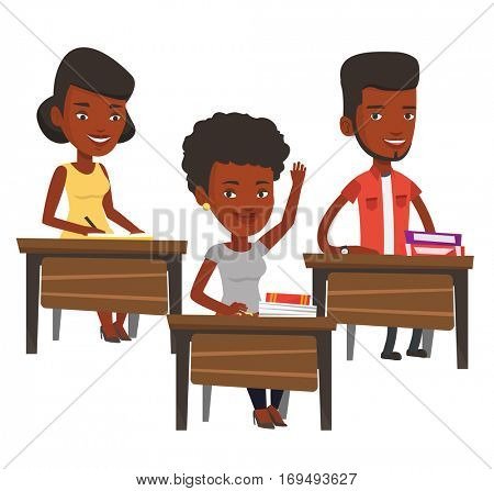 Student raising hand in the classroom for an answer. Student sitting at the desk with raised hand. Schoolgirl raising her hand at lesson. Vector flat design illustration isolated on white background.