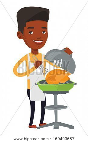 An african-american man cooking chicken on barbecue grill outdoors. Man having a barbecue party. Man preparing chicken on barbecue grill. Vector flat design illustration isolated on white background.