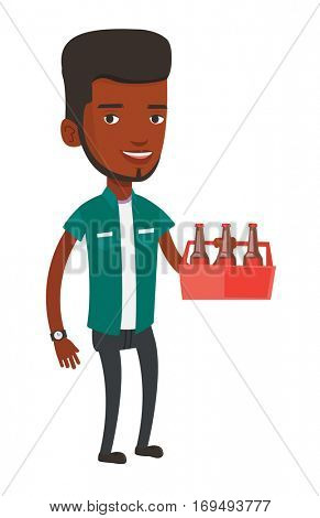 African-american man buying beer. Young happy man holding pack of beer. Full length of cheerful man carrying a six pack of beer. Vector flat design illustration isolated on white background.