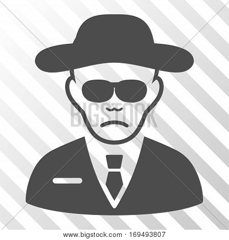 Gray Security Agent interface toolbar pictogram. Vector pictograph style is a flat symbol on diagonal hatch transparent background.