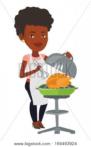 An african-american woman cooking chicken on barbecue grill. Woman having a barbecue party. Woman preparing chicken on barbecue grill. Vector flat design illustration isolated on white background.