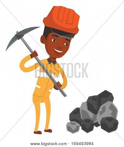 African-american miner in hard hat working with a pickaxe. Smiling miner in helmet working at the coal mine. Young miner at work. Vector flat design illustration isolated on white background.