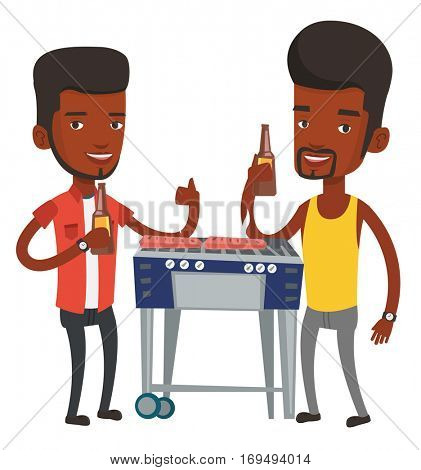 African male friends at barbecue party. Friends preparing barbecue and drinking beer. Group of friends having fun at a barbecue party. Vector flat design illustration isolated on white background.