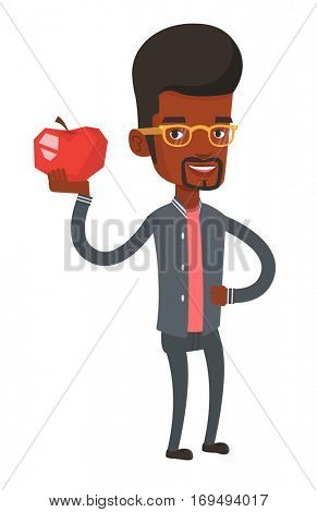 African-american man enjoying fresh healthy apple. Young man holding an apple in hand. Man eating an apple. Concept of healthy nutrition. Vector flat design illustration isolated on white background.