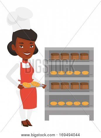 African-american baker holding tray of bread in the bakery. Confident baker standing near bread rack. Smiling baker holding baking tray. Vector flat design illustration isolated on white background.