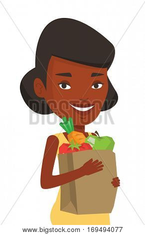 Woman carrying grocery shopping bag with vegetables. Woman holding grocery shopping bag with healthy food. Woman with grocery shopping bag. Vector flat design illustration isolated on white background
