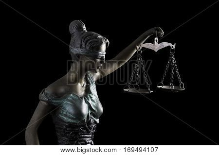 Lady Justice isolated on black background (Concept of justice)