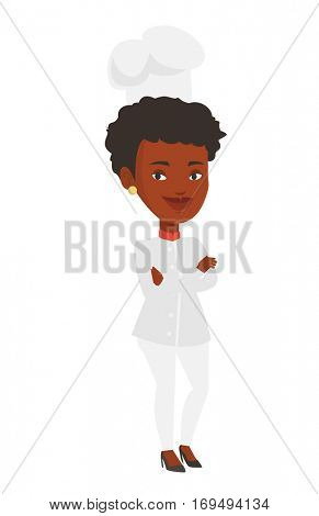 Young happy african-american chef. Chief cooker in uniform and hat standing with arms crossed. Full length of confident chief cooker. Vector flat design illustration isolated on white background.