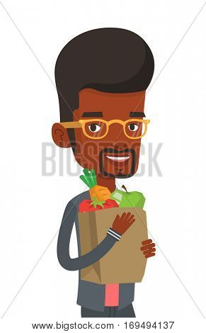 Man carrying grocery shopping bag with vegetables. Man holding grocery shopping bag with healthy food. Man with grocery shopping bag. Vector flat design illustration isolated on white background.