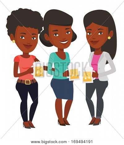 African-american young women clanging glasses of beer. Beer fans toasting and clinking glasses. Cheerful friends enjoying a beer at pub. Vector flat design illustration isolated on white background.
