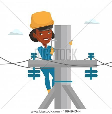 African electrician working on electric power pole. Electrician at work on electric power pole. Electrician repairing electric power pole. Vector flat design illustration isolated on white background.