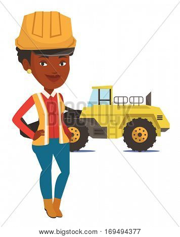 An african-american smiling miner in hard hat standing on the background of a big excavator. Confident miner standing with crossed arms. Vector flat design illustration isolated on white background.