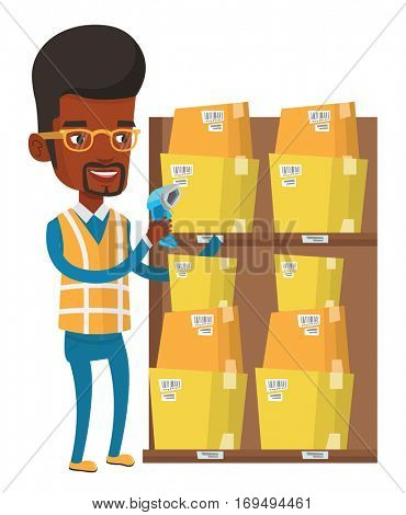 African warehouse worker scanning barcode on box. Warehouse worker checking barcode of box with a scanner. Warehouse worker at work. Vector flat design illustration isolated on white background.
