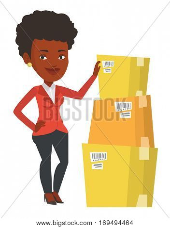 Business woman working in warehouse. Business woman checking boxes in warehouse. Business woman in warehouse preparing goods for dispatch. Vector flat design illustration isolated on white background