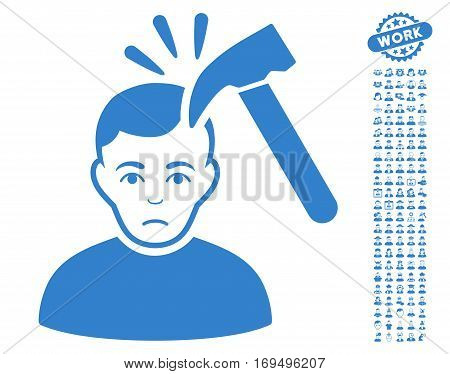 Murder With Hammer icon with bonus human symbols. Vector illustration style is flat iconic cobalt symbols on white background.