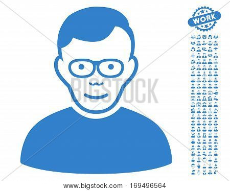 Pensioner icon with bonus avatar graphic icons. Vector illustration style is flat iconic cobalt symbols on white background.