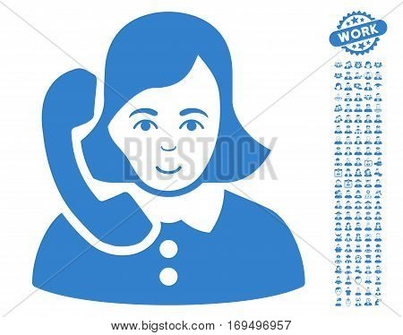 Receptionist pictograph with bonus avatar clip art. Vector illustration style is flat iconic cobalt symbols on white background.