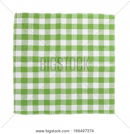 green and white checkered dish towel