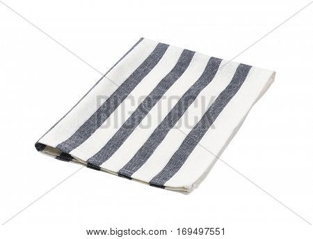 blue and white striped dish towel
