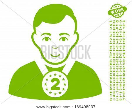 2nd Prizer Sportsman pictograph with bonus occupation pictograms. Vector illustration style is flat iconic eco green symbols on white background.