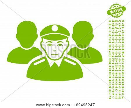 Army Team icon with bonus human pictograms. Vector illustration style is flat iconic eco green symbols on white background.