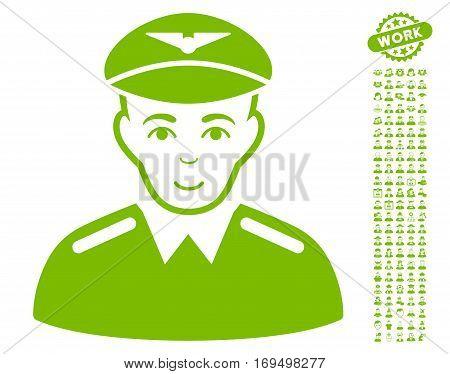 Aviator icon with bonus people symbols. Vector illustration style is flat iconic eco green symbols on white background.