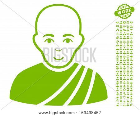 Buddhist Monk icon with bonus avatar pictograph collection. Vector illustration style is flat iconic eco green symbols on white background.