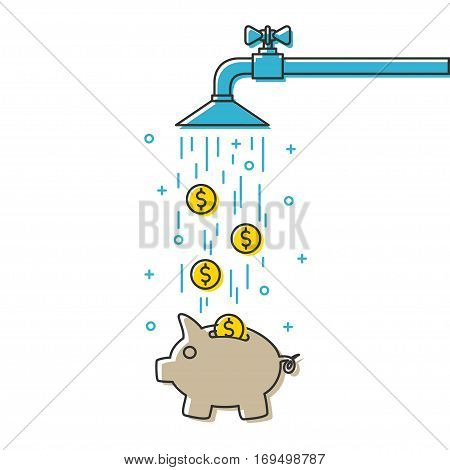 Save water vector illustration. Save money with piggy bank creative concept. Do not waste water graphic design.
