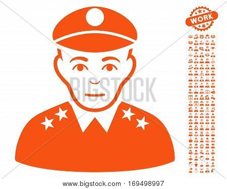 Army General pictograph with bonus occupation icon set. Vector illustration style is flat iconic orange symbols on white background.