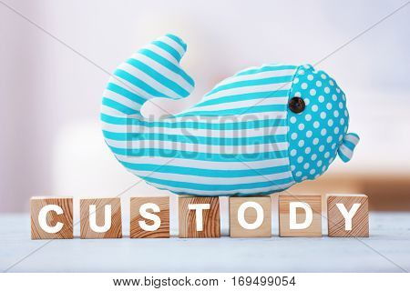 Cubes with word CUSTODY and toy whale on blurred background