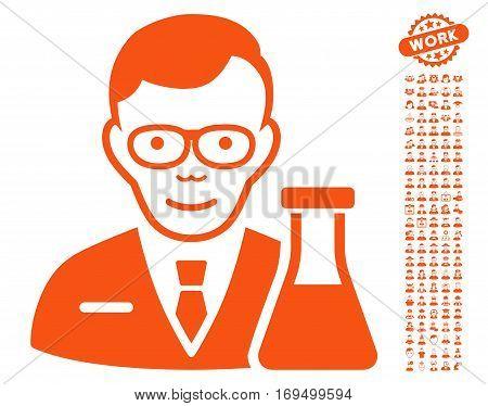 Chemist pictograph with bonus men clip art. Vector illustration style is flat iconic orange symbols on white background.