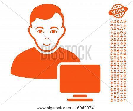 Computer Administrator pictograph with bonus men icon set. Vector illustration style is flat iconic orange symbols on white background.