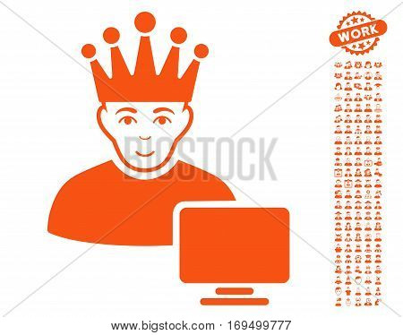 Computer Moderator pictograph with bonus men pictograms. Vector illustration style is flat iconic orange symbols on white background.