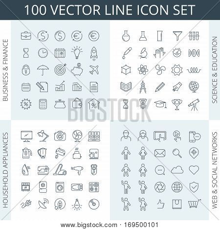 Vector thin line icon set. Business icons education icons financial icons science icons household appliances icons kitchen icons social networks icons school icons. For infographics and web.