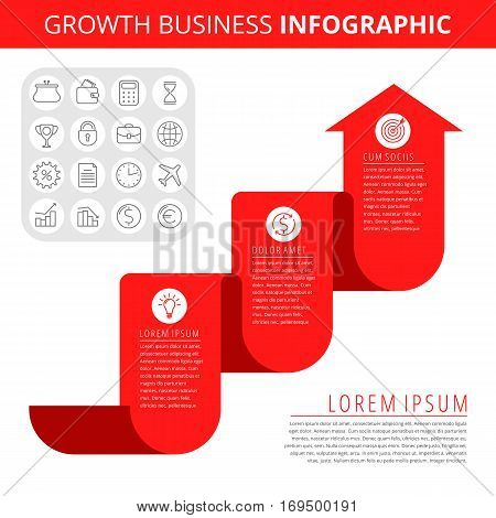 Infographic elements. Business design concept and isolated line icon set. Vector infographic icons growth business chart. Flat red growth arrow and line icons. Process of increase business and profit