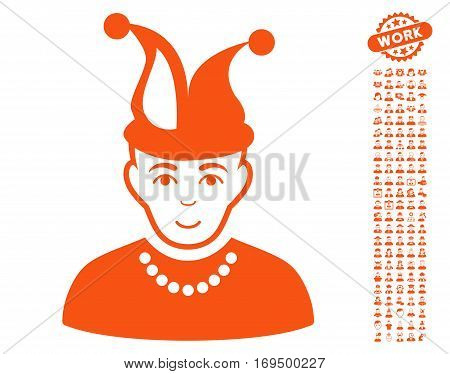 Fool pictograph with bonus human design elements. Vector illustration style is flat iconic orange symbols on white background.