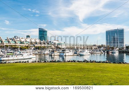 SAN DIEGO, CALIFORNIA - JANUARY 8, 2017:  Hotels and convention center with yachts docked at Embarcadero Marina Park North.