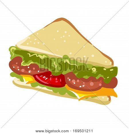 Sandwich fast food flat vector icon. Snack of sausage salami and cheese filling with toast bread or panini for fastfood takeaway or delivery menu