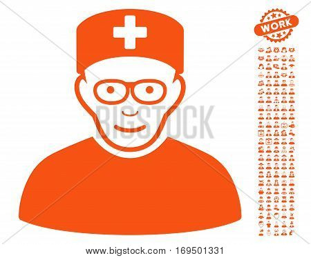Medical Specialist icon with bonus occupation pictures. Vector illustration style is flat iconic orange symbols on white background.
