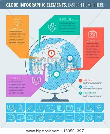 Infographic elements. Education and business infographic concept. Thin line illustration of globe eastern hemisphere map business icon set. Infographic vector flat design template infographic map.
