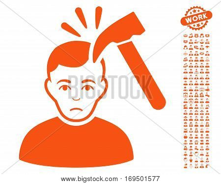 Murder With Hammer pictograph with bonus human symbols. Vector illustration style is flat iconic orange symbols on white background.