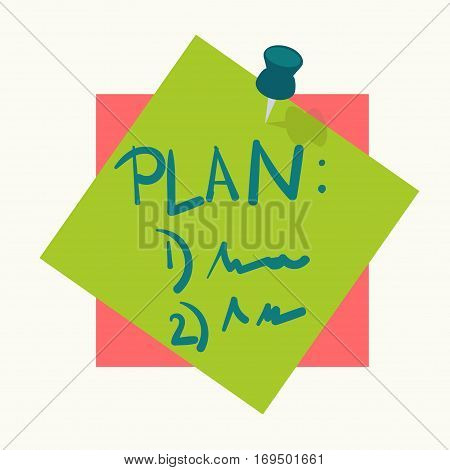 Sticky note or reminder adhesive memo message pin vector icon