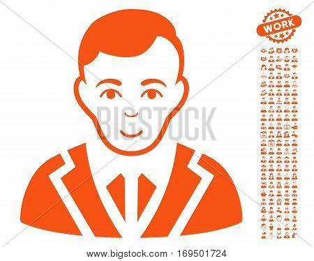 Noble icon with bonus human icon set. Vector illustration style is flat iconic orange symbols on white background.