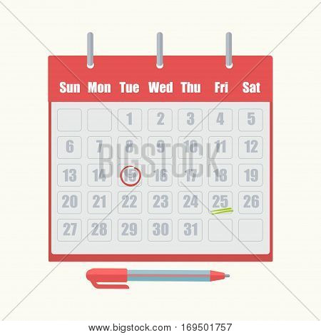 Calendar with work tasks, agenda and appointment date reminder mark. Vector isolated office pen icon on white background